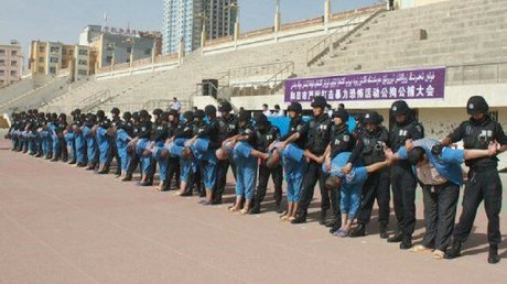Uyghur detainees in a Chinese Internment Camp.